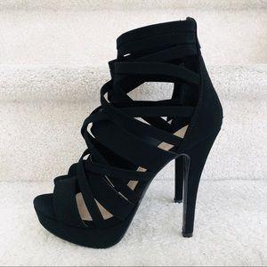 New Black Suede Strappy Heels
